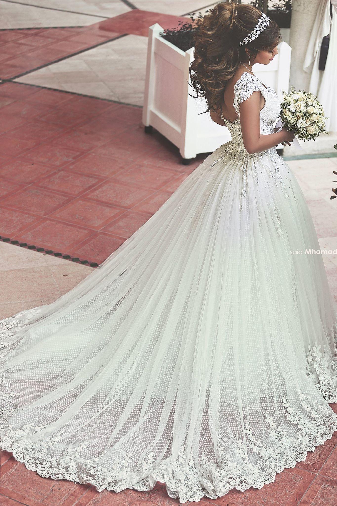 Long sleeve ball gown wedding dresses  I love the design of the bottom of the skirt  Dresses  Pinterest