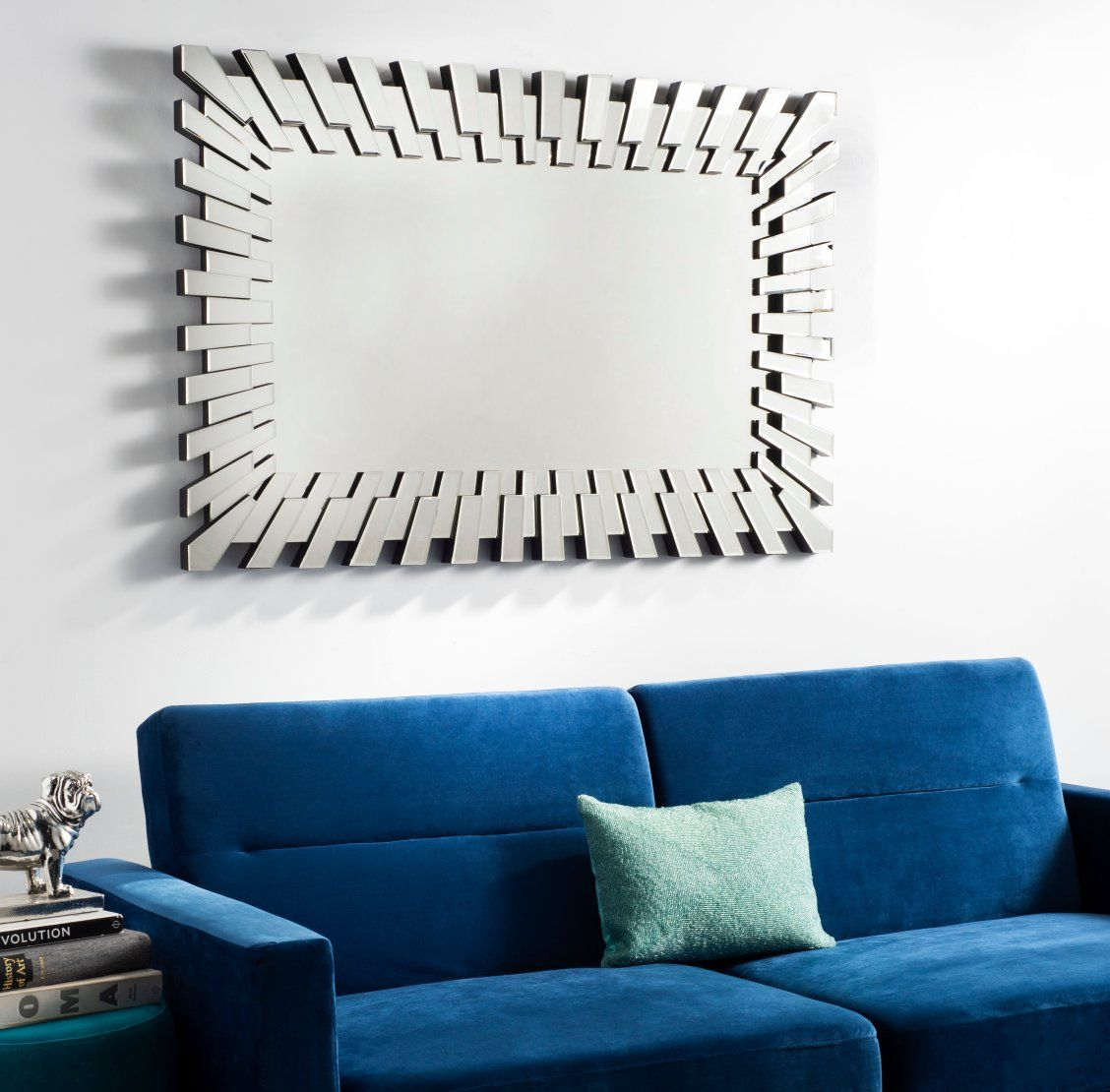 Inspired By Contemporary Art This Modern Rectangular Mirror Is A New Spin On The Traditional Silver Mirror Its Bold Thr Mirror Decor Rectangular Mirror Decor #rectangle #mirrors #for #living #room