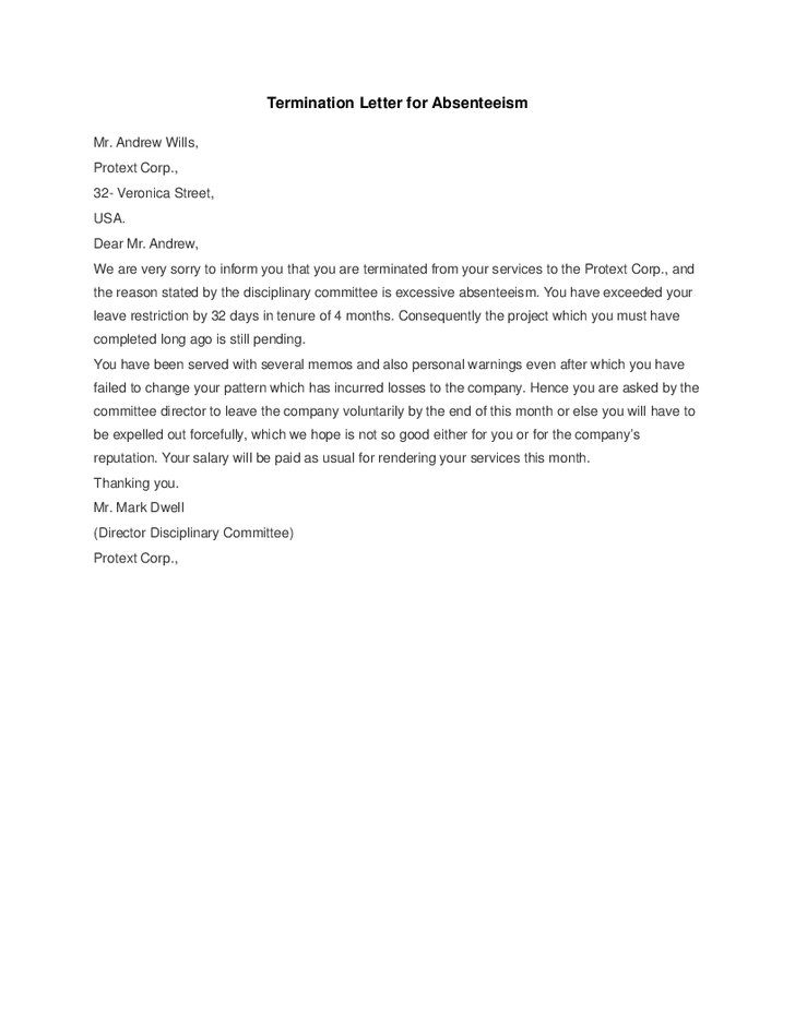 Termination Letter For Absenteeism Hashdoc Free Template Sample