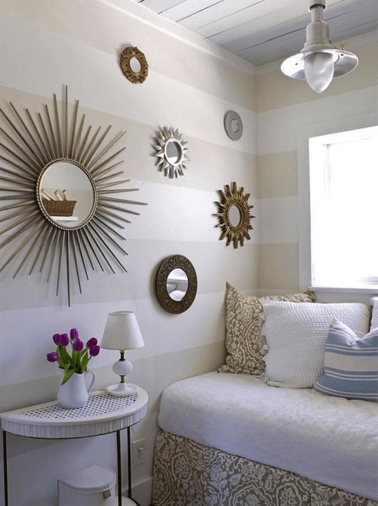amnager une petite chambre et la dcorer de miroirs soleil et couleurs claires