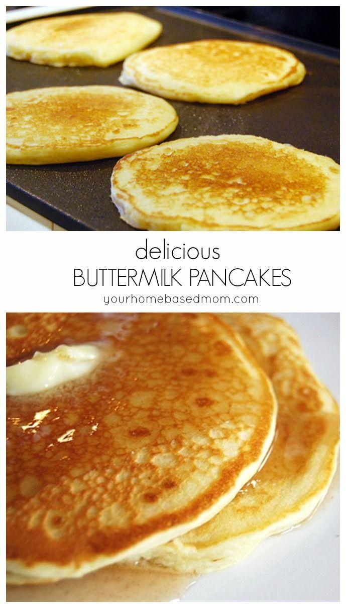 Homemade Buttermilk Pancakes Recipe Recipes Breakfast Buttermilk Pancakes