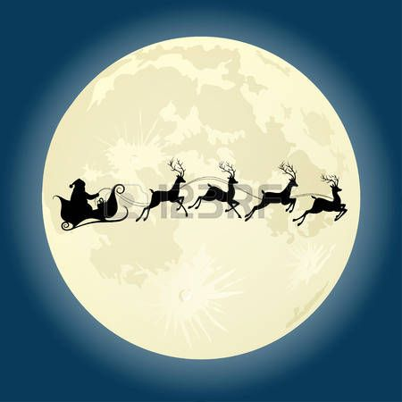 Moon Santa Claus Silhouette Riding A Sleigh With Deers In