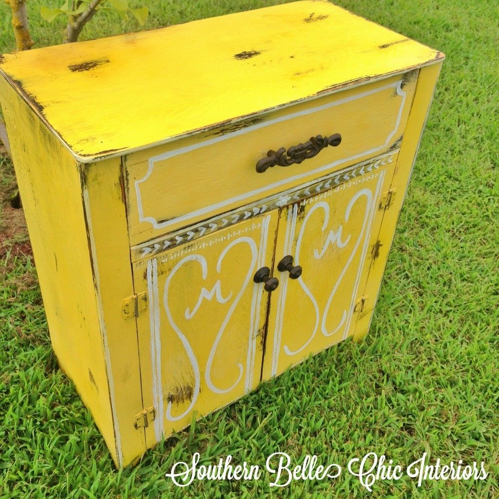 Chalk Paint, Yellow, Refinished Cabinet, Monogrammed