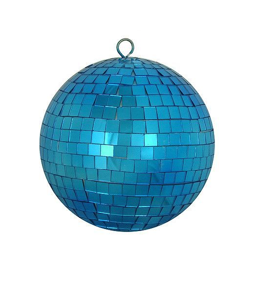 Peacock Blue Mirrored Glass Disco Ball Christmas Ornament 6\