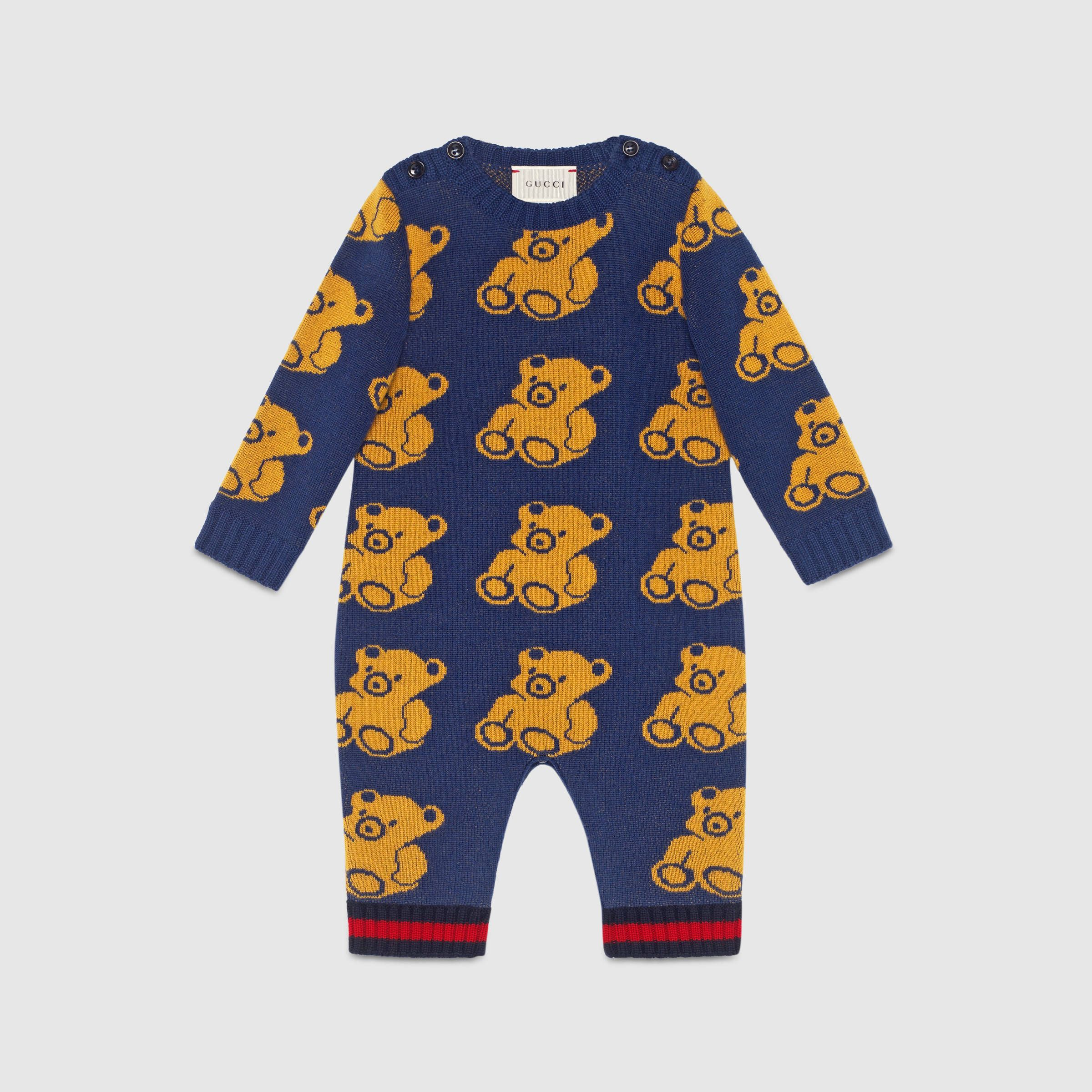 Baby bear jacquard sleepsuit Gucci Newborn Clothing