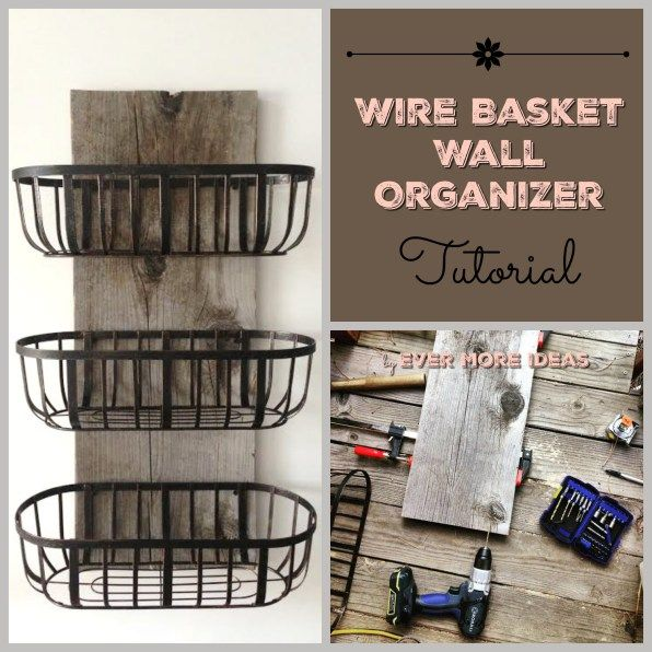 Rustic wood and wire baskets organizer I made this for my kitchen