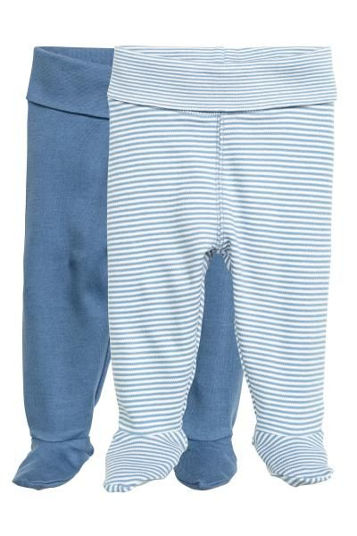2-pack leggings with feet  CONSCIOUS. Leggings in soft organic cotton jersey  with wide foldover ribbing at the waist and full feet. b406e7a6668