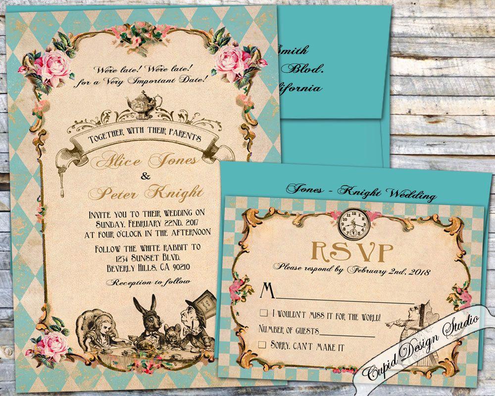 Alice in Wonderland Wedding invitation. Mad hatter tea party wedding ...