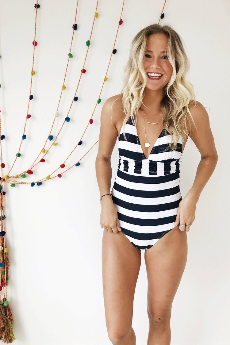 8fa42721ac803 Navy + White Nautical Striped One Piece Swimsuit | ROOLEE | Summer ...