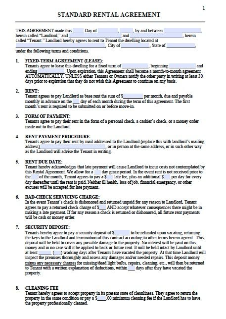 Printable Sample Residential Lease Agreement Template Form Real - standard rental agreement