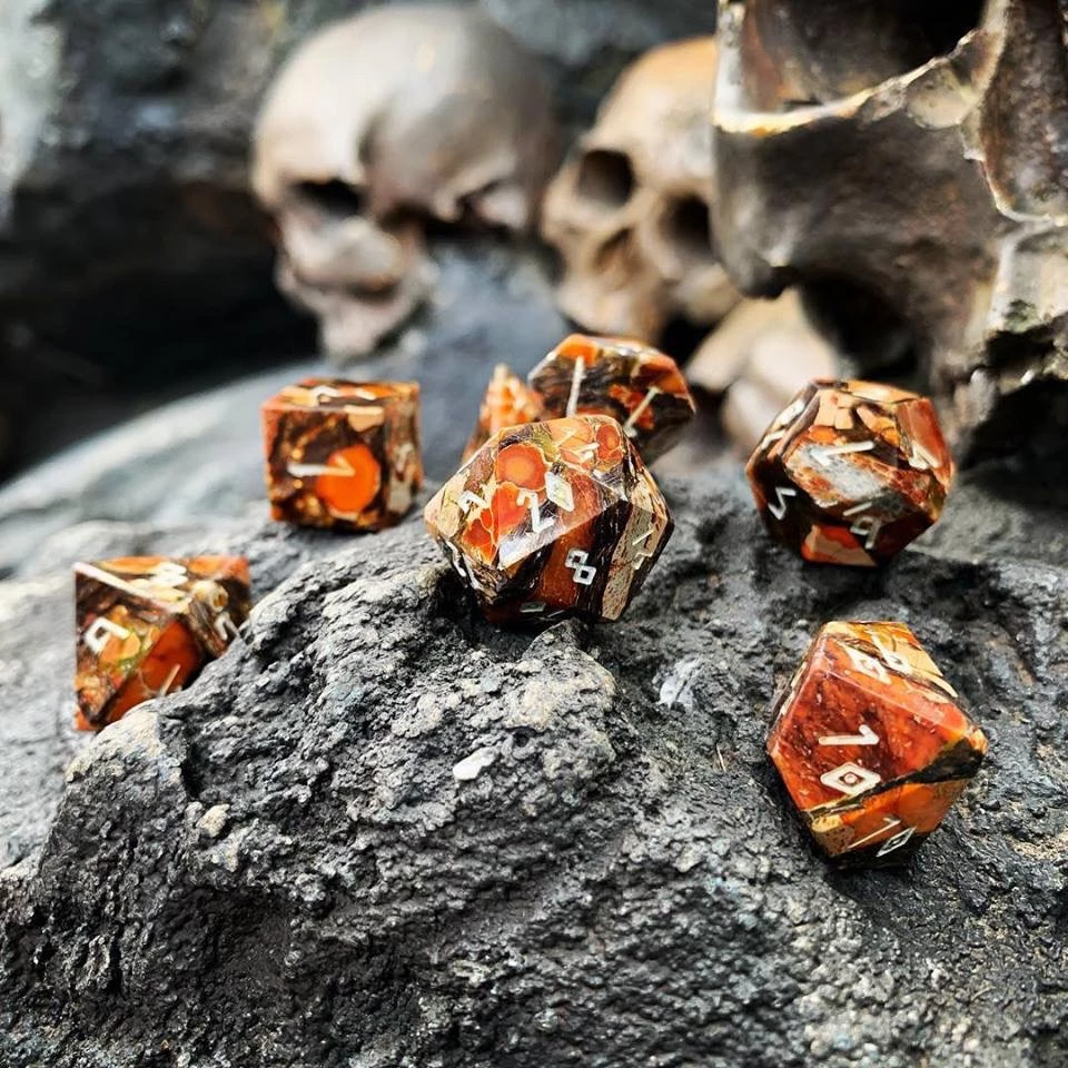 Bronzite Orange Imperial Jasper Trustone 7 Piece Rpg Dice Set Gemstone Rpg Dungeons And Dragons Dice Bronzite