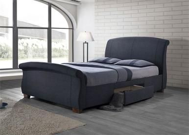 Best Sleigh Grey Fabric Platform Bed With Storage Drawers 400 x 300