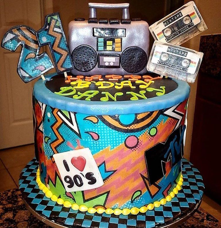 Blast From The Past A Great 90s Themed Birthday Cake Angientito Thanks For