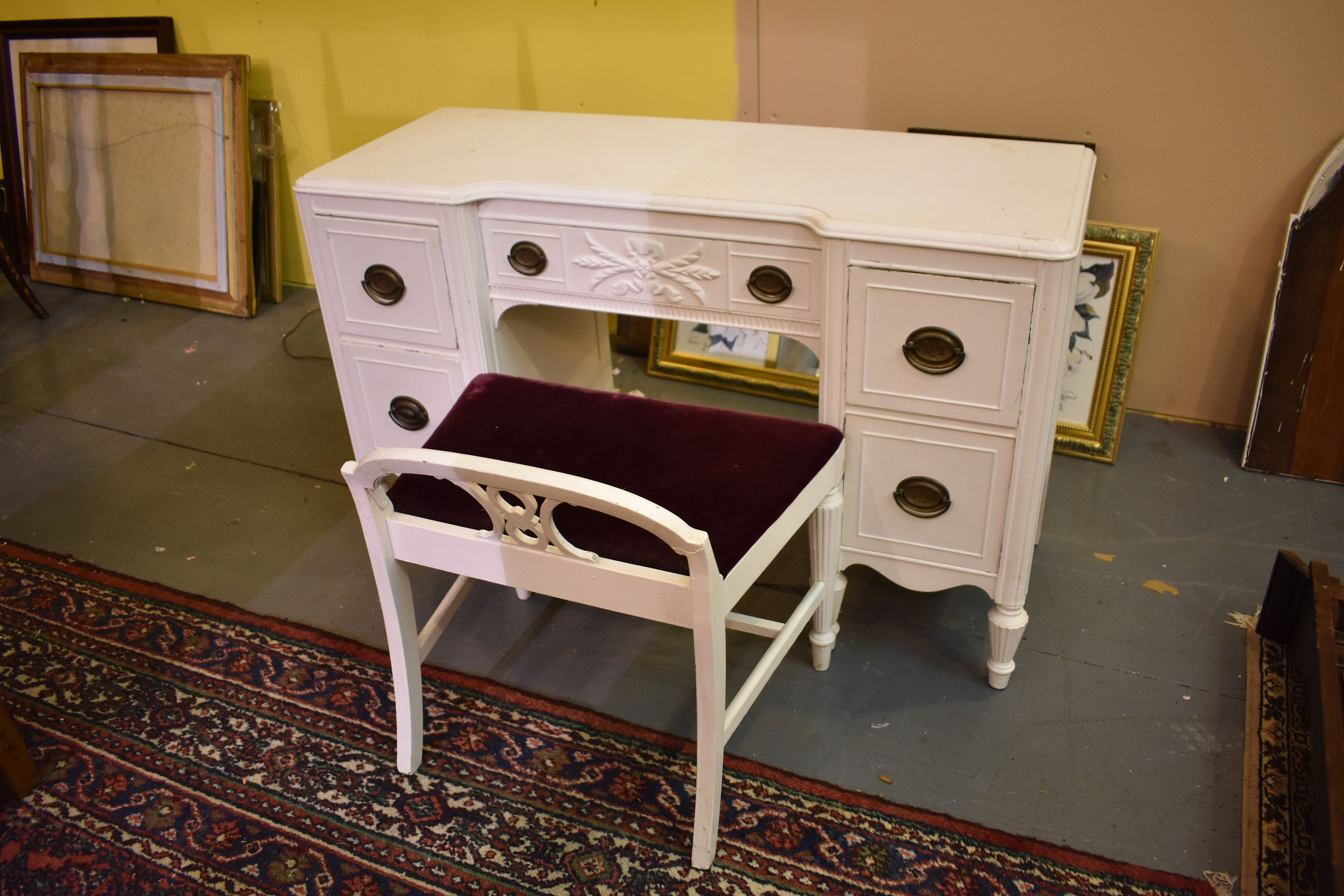 Huntley white painted vintage bedroom vanity desk vintage furniture