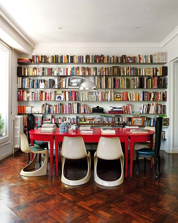 Dining Room Library Ideas: Bookshelves, Library, Dining Room, Red Table, White Mid