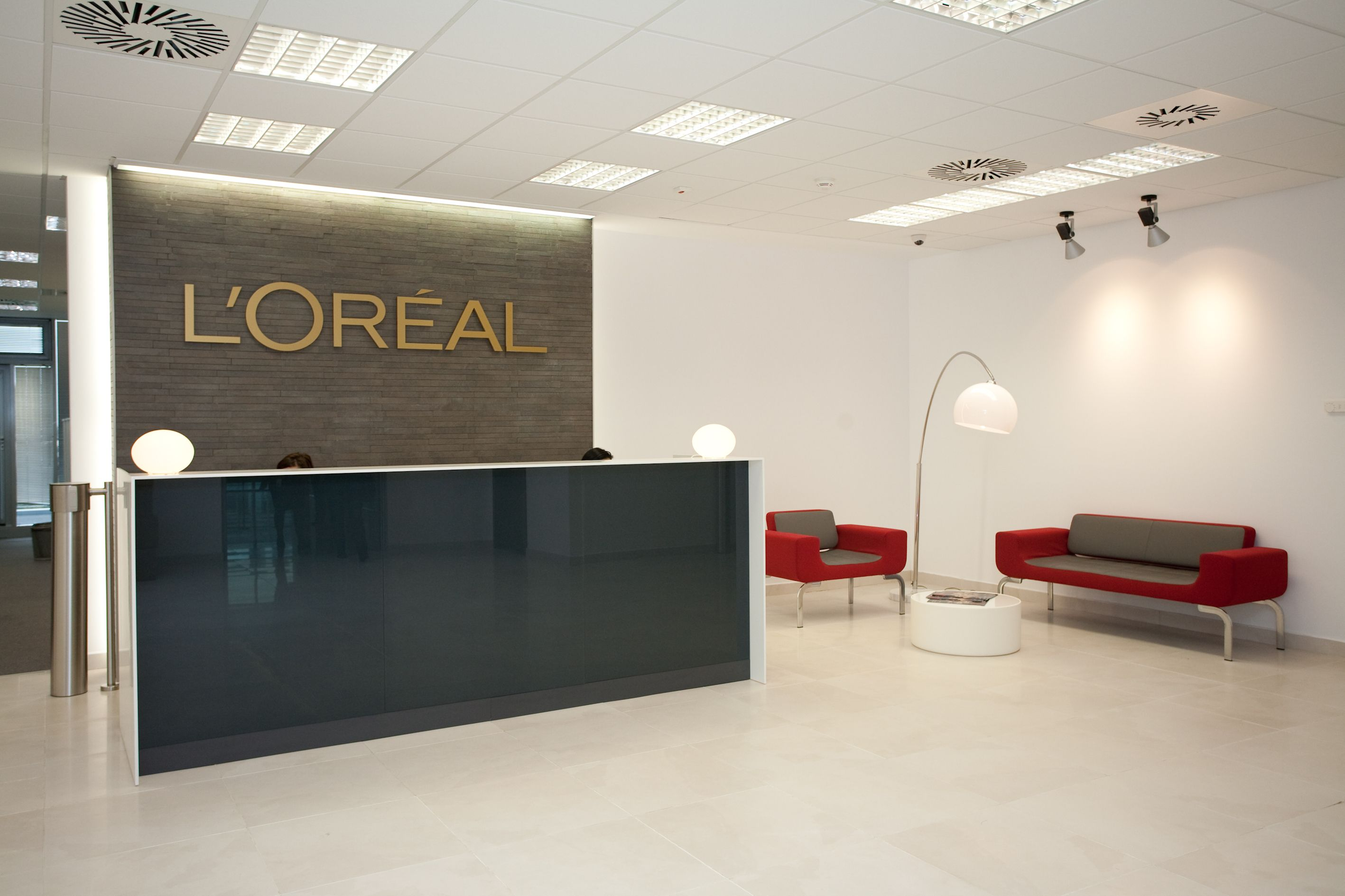 Office Entrance Design Lu0027Oreal Romania Entrance Area #Office #Interior #Design