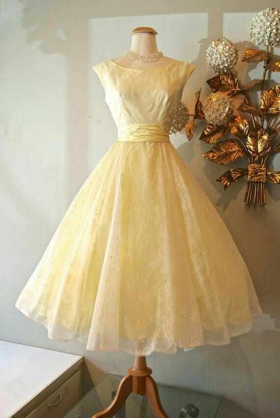 Cute Vintage Yellow Dress Vintage Dresses Vintage Dresses 50s Prom Dresses Vintage