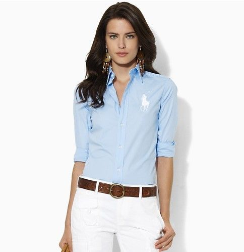 Polo Ralph Lauren Shirts Women Solid Big Pony Baby Blue | Light ...