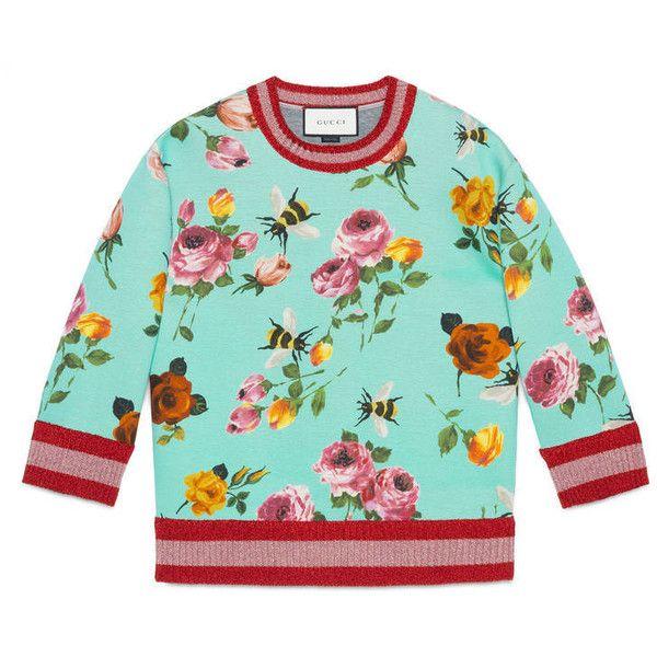 06597d72f7e Gucci Rose Print Sweatshirt featuring polyvore