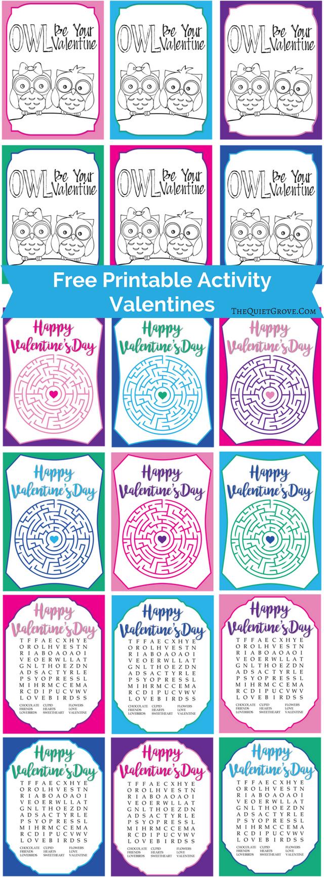 Free Printable Activity Valentines via @TheQuietGrove   The Best ...