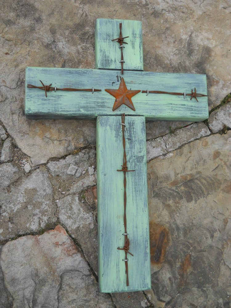 CROSS * RUSTIC WOOD & BARBED WIRE WITH STAR * WESTERN DECOR, COUNTRY ...