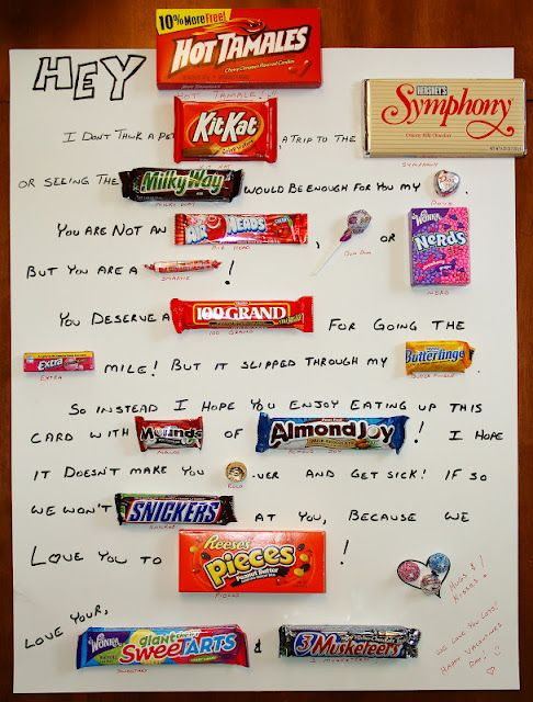 Candy Bar Poster I made for my hubby for Valentine's Day ...