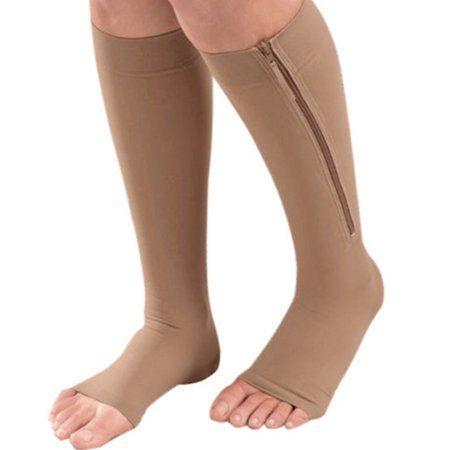 4658f4fb1ea New Men and Women Knee High Zipper Toe Open Compression Socks Calf Leg  Support Stocking