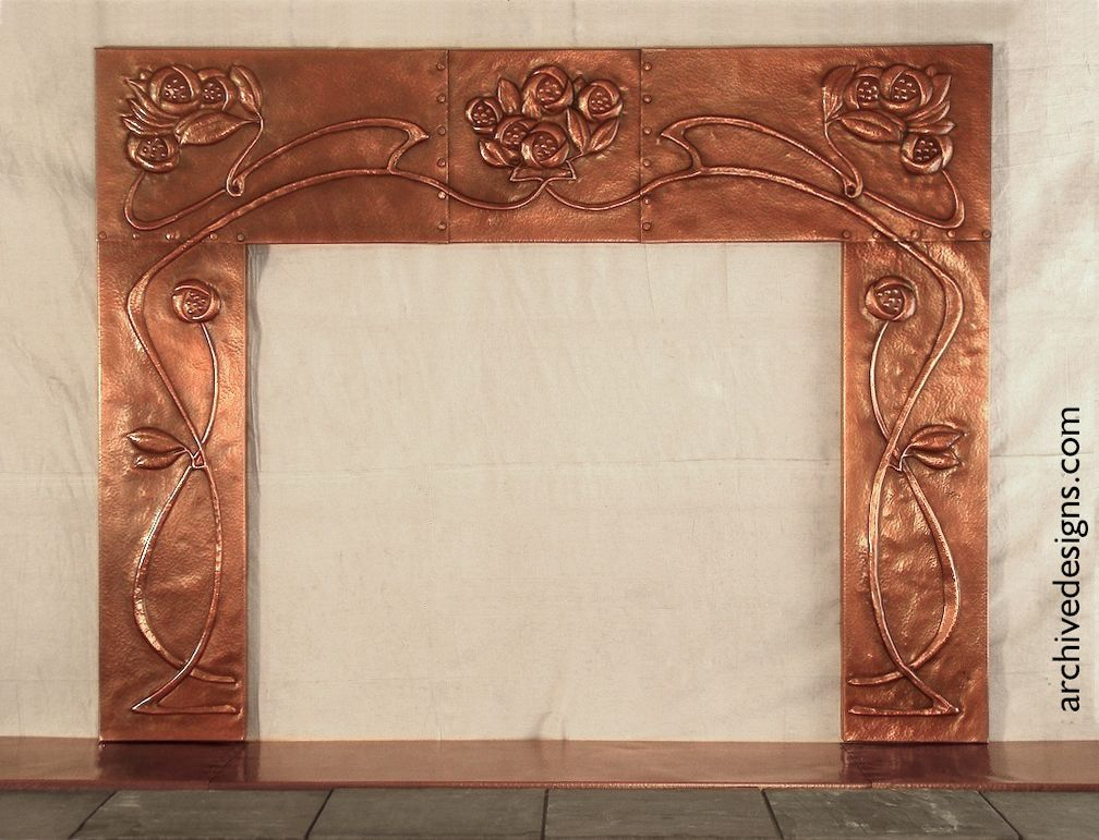 hammered copper fireplace surround inspired by Scottish Arts ...