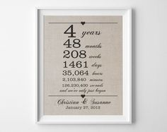 4 Years Together Linen Anniversary Print 4th By Quillandflourish 12 Year Anniversary Gifts Anniversary Gifts For Husband 12th Anniversary Gifts