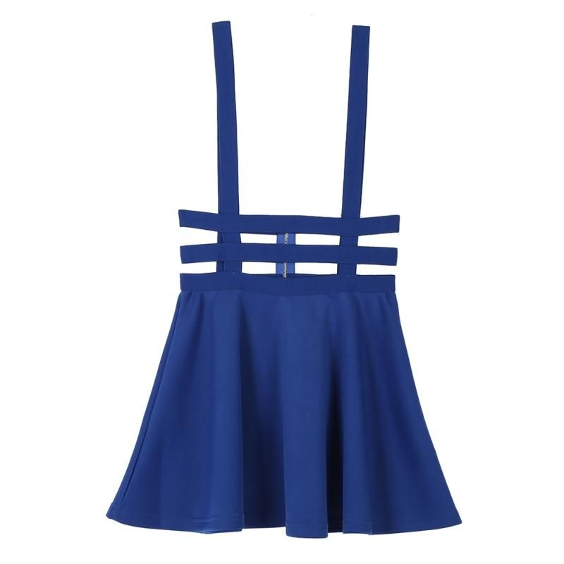 Hollow Women Ladies Skater Strap Midi Skirt Suspender Skirt Mini Kawaii Pleated  Skirt uSEFUL 4b55ecb51