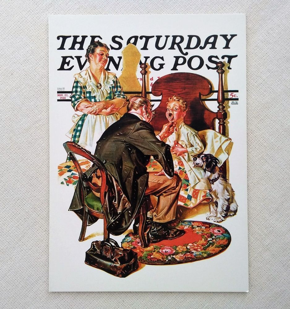 Get Well Greeting Card Unused Saturday Evening Post Cover