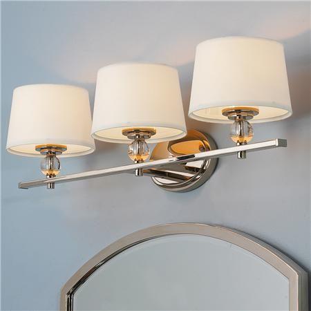 Crystal Accent Vanity Light 3 Light Bathroom Light Fixtures Stylish Bathroom Polished Nickel
