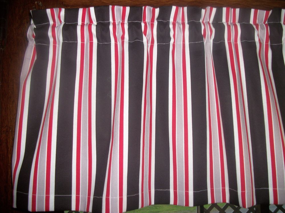 Black White Red Gray Striped Stripes Waverly Fabric Topper Curtain Valance Handmade Cottage Black White Redkitchen Curtainswindow