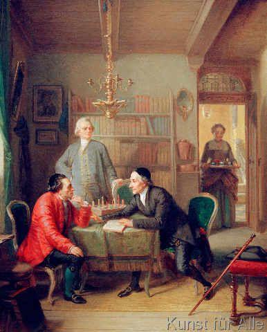 Moritz Daniel Oppenheim - Lavater and Lessing with Moses Mendelsohn