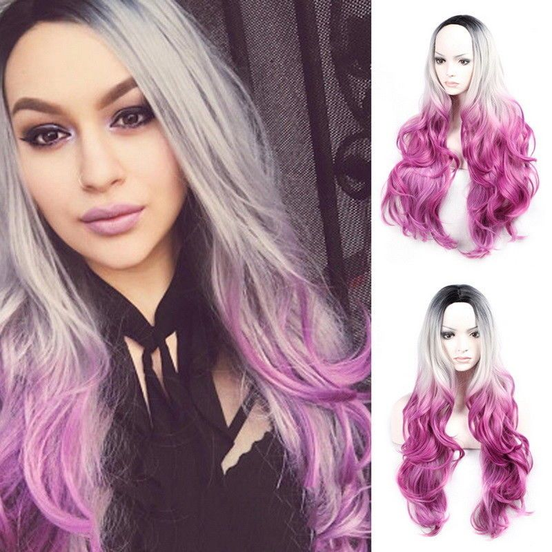 Women Fashion Synthetic Hair Wig Fashion Long Wavy Purple Grey Full Wigs Hp Hair Wig Long Costume Wigs Wig Party Full Wigs