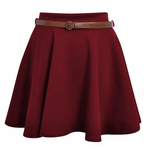 Taylor Wine Belted Jersey Skater Skirt ($19) ❤ liked on Polyvore