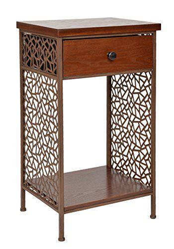 Kommode Schrank Regal Shabby Antik Vintage Industrie Design Rustikal Holz  Metall Nachttisch Beistelltisch Ablage Telefontisch Mit
