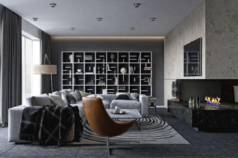 Soggiorni moderni componibili e un\'idea con un divano grigio ...