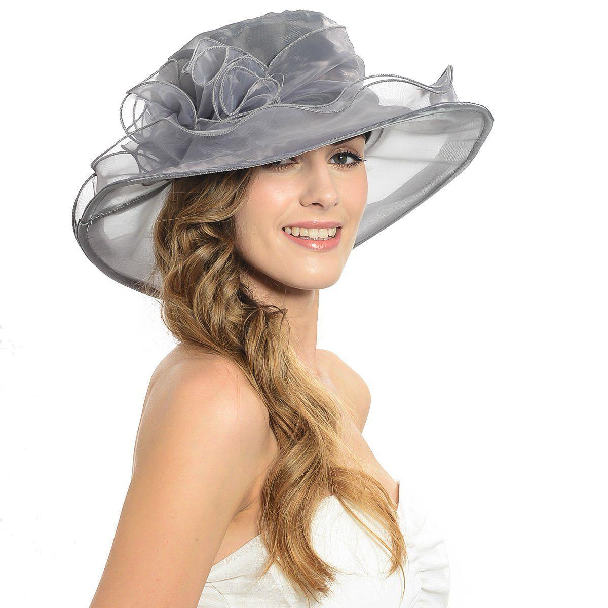 eeeafff869e63 Women Kentucky Derby Church Dress Organza Hat Wide Brim Flat Hat (8  Colours) (