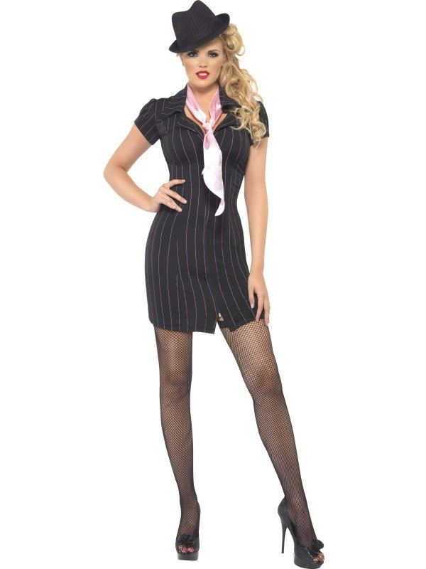 49576af59e36c Adult Sexy 1920s Gangster Mafia Moll Ladies Fancy Dress Costume Hen Party  Outfit   eBay