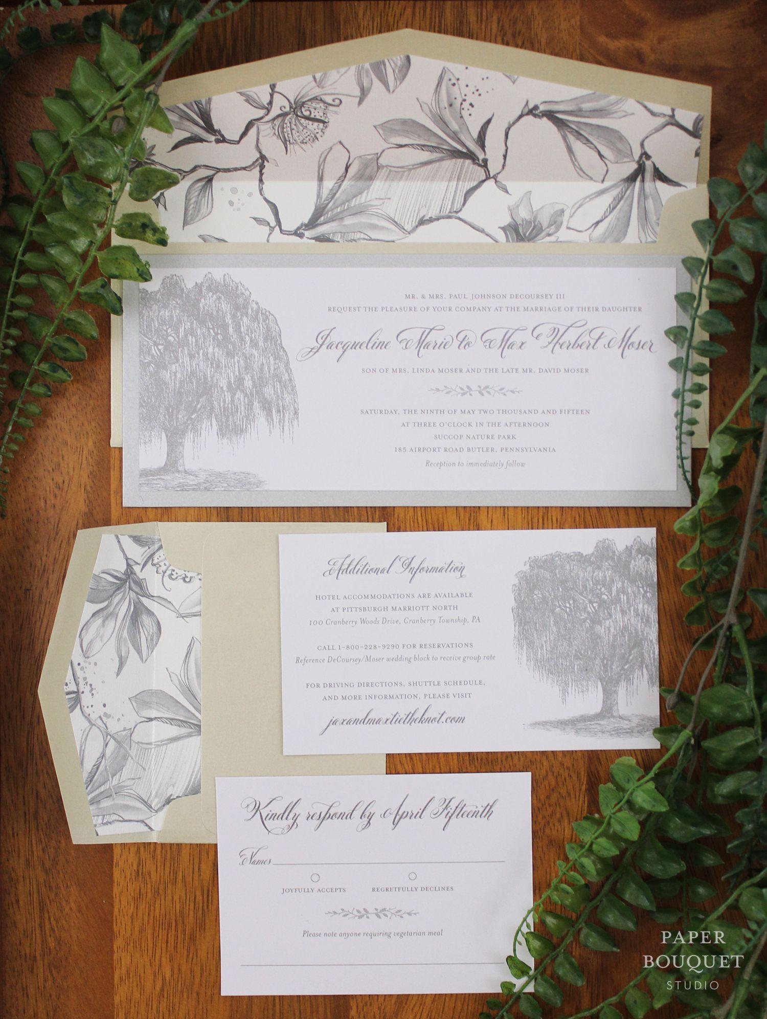 Elegant outdoor wedding invitation suite   Paper Bouquet Studio ...