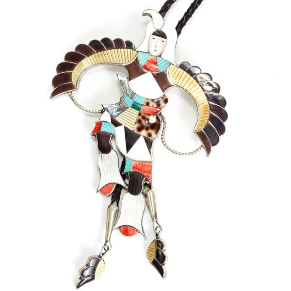 "Native American Zuni Jonathan Beyuka Kachina eagle dancer bolo tie, sterling silver with turquoise, coral, onyx, and MOP inlay. Signed J. Beyuka, Zuni, N.M. 5 1/8"" H x 4"" W"