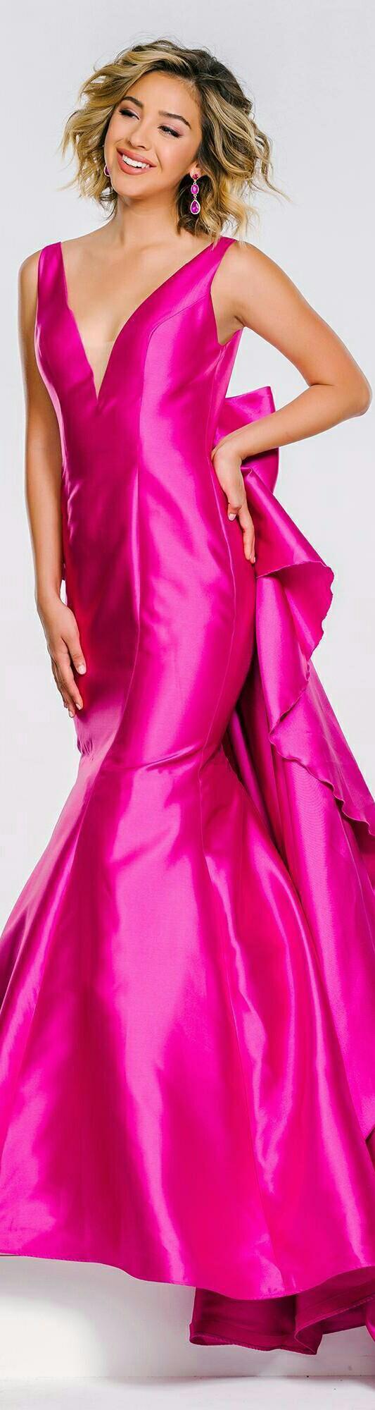 JOVANI • Fuchsia Mermaid-Style Bow Back Prom Dress • #41644 ...