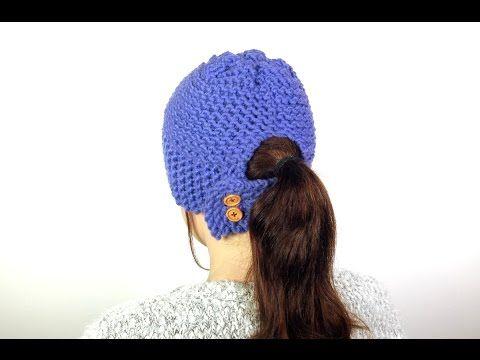 d458b8e0da8 How to Loom Knit a Ponytail Hat (DIY Tutorial) - YouTube