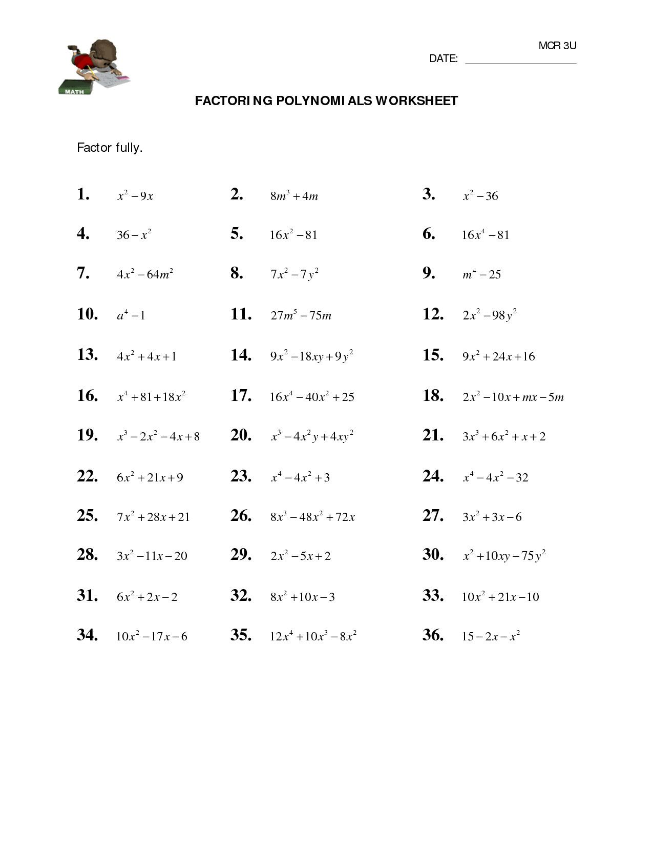 Factoring Quadratic Equations Worksheet In 2020 Factoring Polynomials Polynomials Quadratics