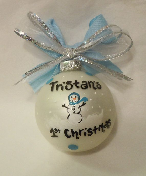 Perfect gifts for anyone who has a special new baby in their lives! Handpainted frosted white ornament with blue and white paint for a boy and pink and
