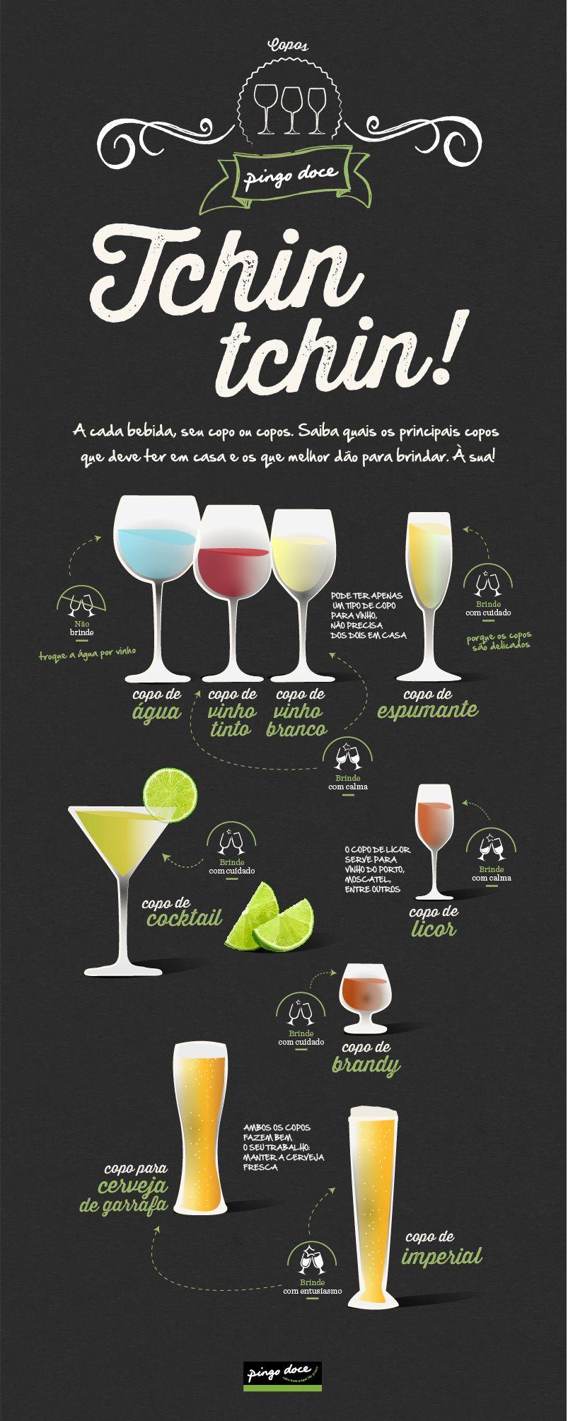Aprenda a escolher o copo certo para cada bebida - infografia Pingo Doce