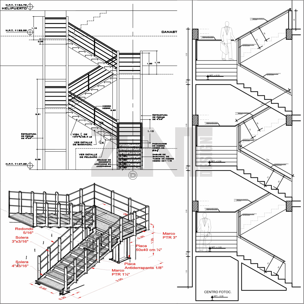 zent design 2d escaleras de metalicas planos arch