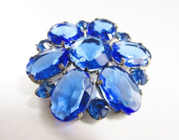 Vintage Blue Rhinestone Flower Brooch 1920s by GrandVintageFinery
