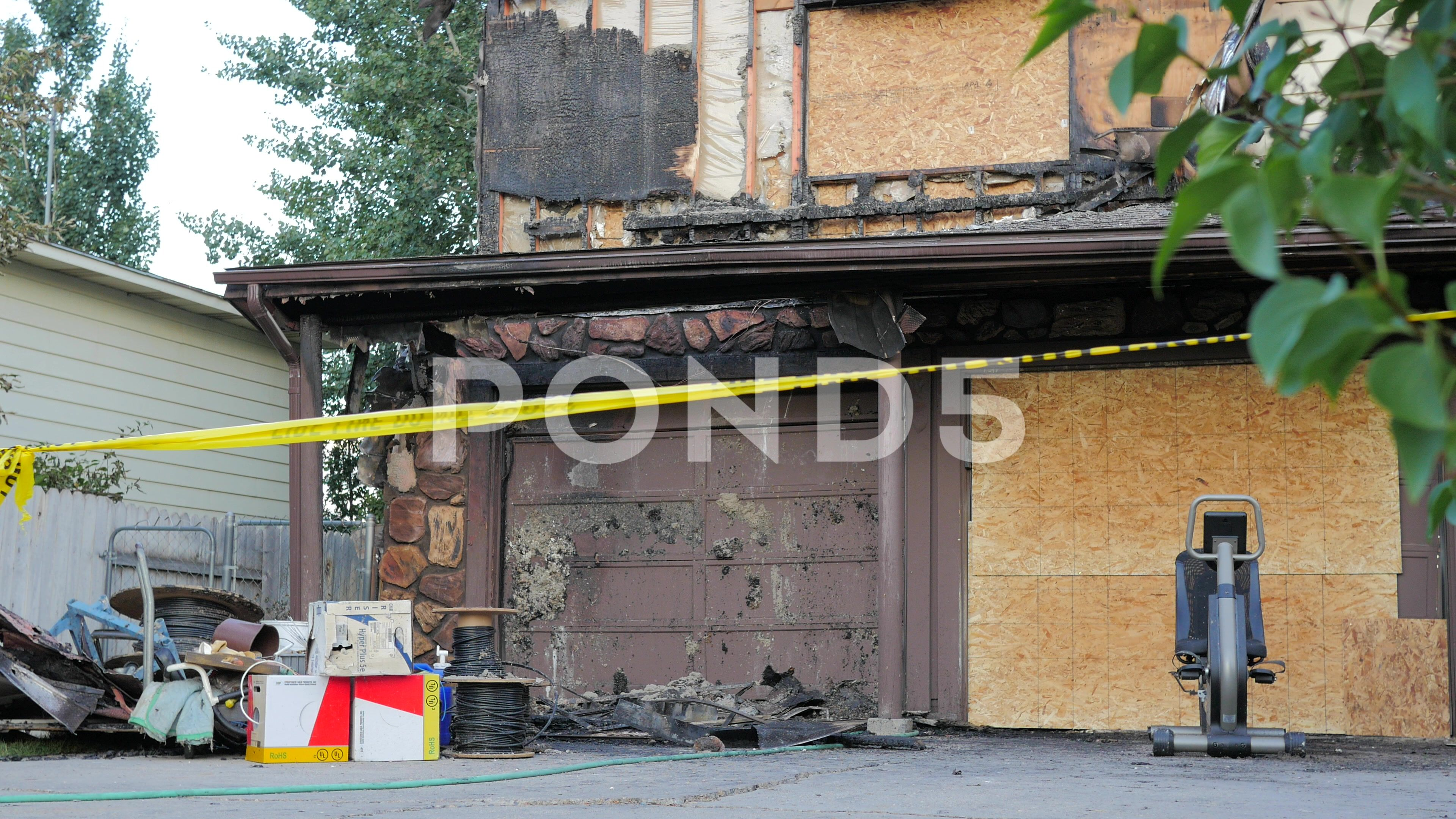 Fire damage on a house stock footage ad damagefire